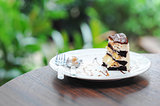 Little pice of chocolate cake with banana