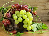 Organic grapes in a basket on a wooden table