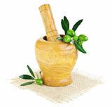 Wooden mortar with fresh green olives