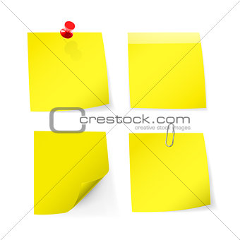 Adhesive notes with pin, clip