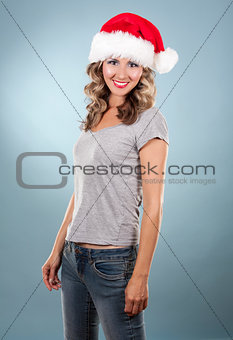 christmas blond woman