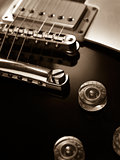 Electric guitar pickup and bridge sepia