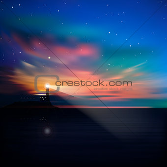 abstract background with lighthouse and mountains