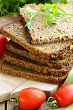 wholegrain rye bread with bran and seeds, healthy eating