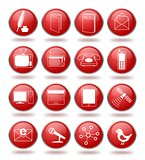 Communication icon set in red spheres
