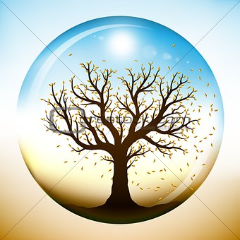 Autumn tree inside glass sphere