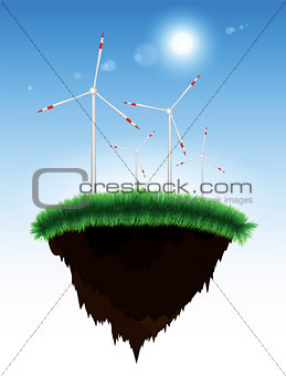 Floating island with grass and windmills