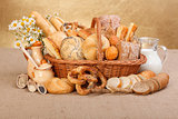 Various baked products in wicker basket