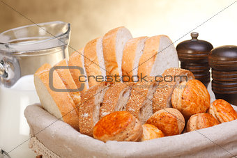 Assorted sliced bakery products