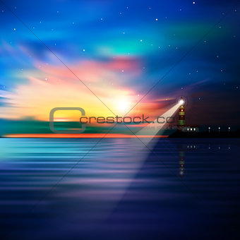 abstract ocean background with lighthouse