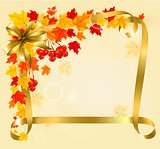 Autumn background with colorful leaves and gold ribbons. Back to