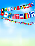 World bunting flags on blue sky. Vector illustration