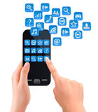 Hands holding mobile phone with icons. Vector.