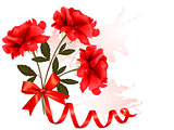Holiday background with beautiful red roses and a ribbon. Vector