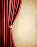 Vintage background with red old curtain and hand. Vector illustr