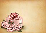 Retro holiday background with pink roses and gift box. Vector