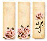 Three retro holiday banners with pink roses. Vector