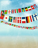 Vintage background with world bunting flags. Vector illustration