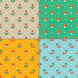 Set of seamless baby patterns.