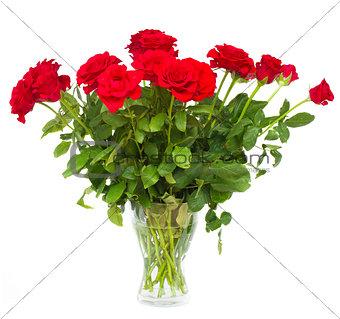 bouquet of scarlet roses in vase