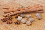cinnamon,  anise  seads and nutmeg