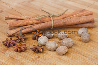 cinnamon,  anise  seads and nutmeg