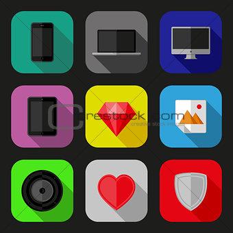 Flat icons set. EPS10 vector illustration.