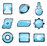 Set of blue icon