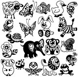 set of black white pictures for children