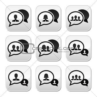 Business meeting, communication buttons set