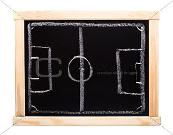 Football strategy planning on blackboard