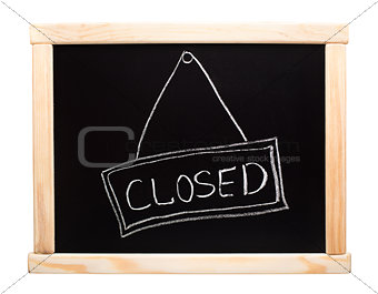 Closed sign made on a blackboard