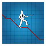 Business man balancing on graph