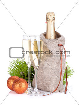 Champagne and christmas baubles