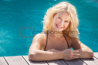 blonde in the pool