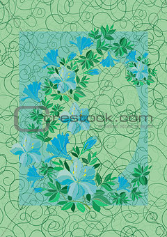 Frame from abstract blue flowers with background