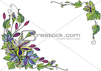 Frame from abstract flowers and berries