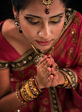 Close up Indian woman prayer