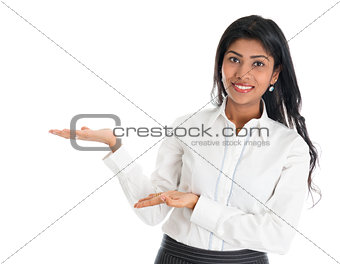 African American business woman showing something