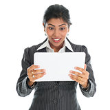 African American businesswoman using tablet pc