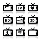 TV set, 3d, HD vector icons