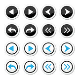 Next, previous arrows round icons set