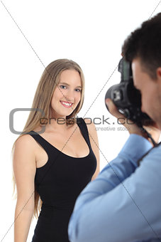 Beautiful model posing for a photographer