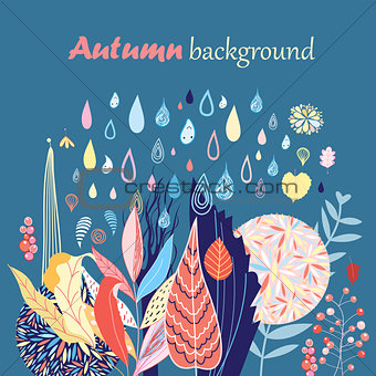 Autumn background with leaves and rain