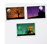 Set of vector post stamps.  Halloween