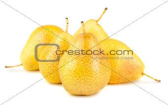 Five ripe yellow pears
