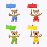 Teddy Bears with Colored Signboards