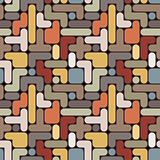 Vector abstract tetris background - vintage seamless color patte