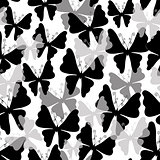White pattern with butterflies (Seamless)