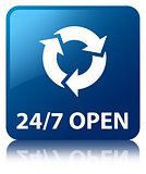 24/7 Open glossy blue reflected square button